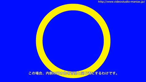 手前の円を背景色と同色にしている