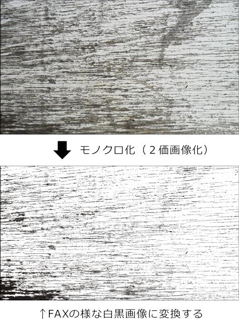 2価画像に変換後、RGBかグレースケール出力