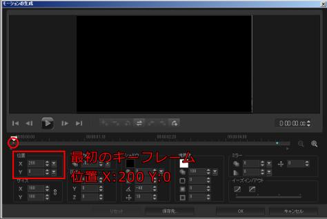 最初のキーフレームはX=200